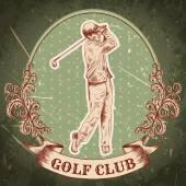 """Vintage poster met silhouet van man golfen. Retro hand getekend vector illustratie etiket """"golf club"""" met grunge achtergrond — Stockvector"""