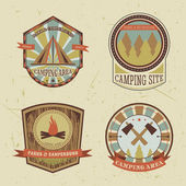 Set of vintage camping and outdoor adventure logo badges and labels. Retro vector illustration — Stock Vector