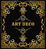 Art deco border. Retro vector illustration  template. Vintage wedding invitation card — Stock Vector