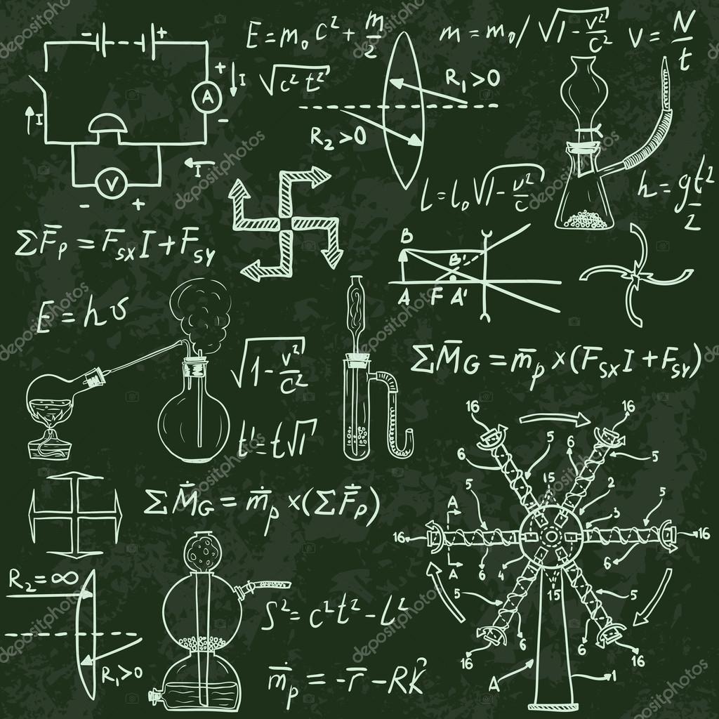 物理公式和黑板上的现象。复古手绘插图– 图库插图