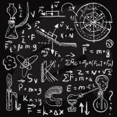 Physical formulas and phenomenons on chalkboard. Vintage hand drawn illustration — Stock Vector