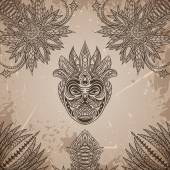 Vintage poster with Tribal mask on the grunge background over ornate pattern. Retro hand drawn vector illustration — Stock Vector