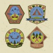 Set of vintage camping and outdoor adventure logo badges and labels. Retro vector illustration — Stock Vector #77783500