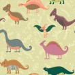 Seamless pattern with set funny dinosaurs in cartoon. Can be used for wallpapers, pattern fills, web page backgrounds,surface textures. - stock vector collection in retro colors — Stockvector  #78730706