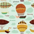 Beautiful retro colorful seamless pattern with set of flying balloons and airships. Cartoon fantasy vector illustration. Can be used for wallpapers, pattern fills, web page backgrounds,surface textures. — Stock Vector #78804628