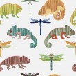 Seamless pattern with set chameleon and dragonfly in cartoon. Can be used for wallpapers, pattern fills, web page backgrounds,surface textures. - stock vector collection in retro colors — Stock Vector #78864396