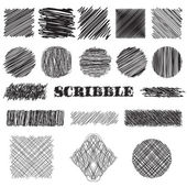 Vector set of scribble brushes. Collection of ink lines, set of hand drawn textures, scribbles of pen, hatching, scratch — Stock Vector