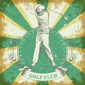 "Vintage poster with man playing golf. Retro hand drawn vector illustration label ""golf club"" with grunge background — Stock Vector"