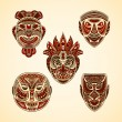 Collection of Tribal mask. Retro hand drawn vector illustration — Stock Vector #79908158