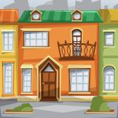 City houses facades. Vector illustration. — Stock Vector