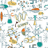Back to School: science lab objects doodle vintage style sketches seamless pattern, vector illustration. — Stock Vector