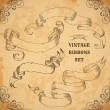 Vintage ribbons set. Vector illustration. Engraved decorative ornate frames. Victorian style. Place for text message.Retro hand drawn design elements collection on aged card paper. — Stock Vector #80402074