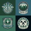 Set of vintage camping and outdoor adventure logo badges and labels. Retro vector illustration — Stock Vector #80431308
