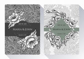 Vintage save the date or wedding invitation card collection with black and white flowers, leaves and branches. Ideal for Save The Date,mothers day, valentines day, birthday cards, invitations. — Stock Vector