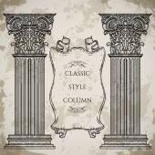 Antika ve Barok Klasik stil sütun ve şerit afiş vektör kümesi. Vintage mimari detaylar tasarım kroki tarzı grunge arka plan üzerinde öğeleri — Stok Vektör