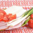 Food on romanian traditional towel — Stock Photo #67467219
