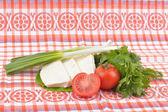 Food on romanian traditional towel — Stock Photo