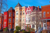 Residential row houses in US Capital during winter time. — Stock Photo