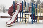 Winter playground equipment, slides — Stock Photo