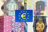 Euro banknotes macro fragments — Stockfoto