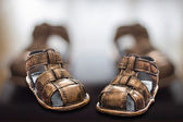 Sandały miedzi Baby — Zdjęcie stockowe
