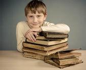 The Boy reading a vintage book — ストック写真