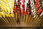 Bow arrows closeup as a background — Foto Stock