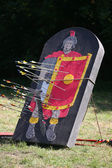 Arrows and target as a legionary on a historical fighting show — Stock Photo
