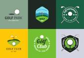 Set of vintage color golf championship logos and badges — Stock Vector