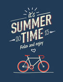 Summer time typography poster with flat retro bicycle — Stock Vector