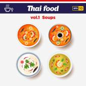 Thai food icon set. Hot spicy chilly soups with shrimps and coconut milk — Stock Vector