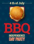 Barbecues party invitation and response card, fourth of July cerebration, USA Independence day party invitation design with cheeseburger and star background. — Stock Vector