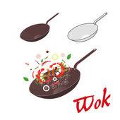 Wok illustration. Asian frying pan. Concept illustration for restaurant — Vettoriale Stock