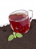 Glass Cup Tea with Mint Leaf — Stock Photo