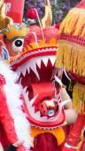 Closeup on chinese dragon on street festival — Stock Photo