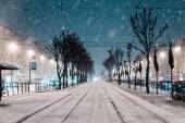 City road at snow — Stock Photo