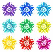Watercolour pattern - Set of nine abstract flowers — Vecteur