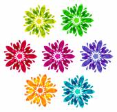 Watercolour pattern - Set of 7 abstract flowers — Stock Vector