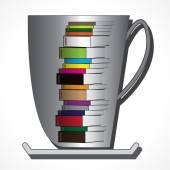 Una taza de café y libros — Vector de stock