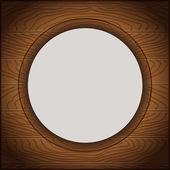 Houten achtergrond, met een witte cirkel in het midden — Stockvector