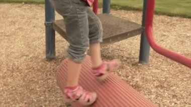 Girl playing on the playground — Stock Video