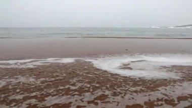 Beautiful sandy beach in snow — Stock Video