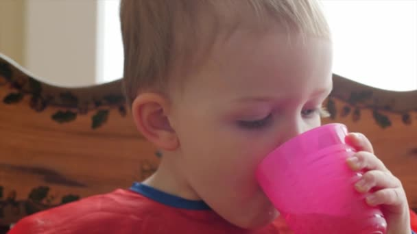 Niño niño comiendo su desayuno — Vídeo de stock