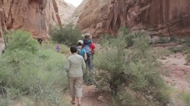Family hiking through a Slot Canyon — Stock Video