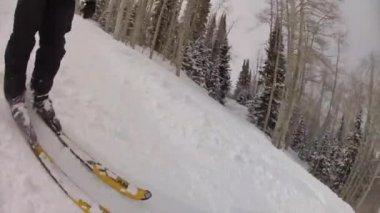 Homme ski sur la station de ski — Vidéo