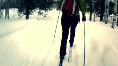 女性クロスカントリー スキー — ストックビデオ