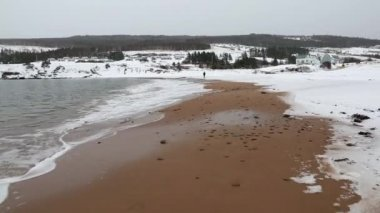 Sandy beach covered in snow — Stock Video