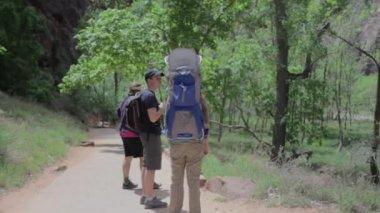 Hikers enjoying walk in park — Stock Video