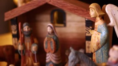 Hand carved nativity creche — Stock Video