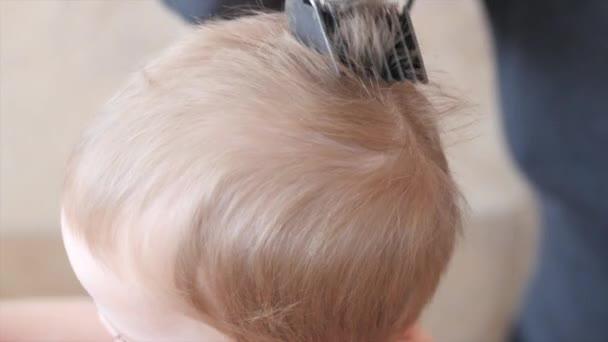 Mujer cortes de pelo de un niño — Vídeo de stock